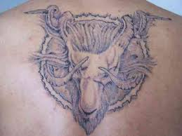 Capricorn Goat Head Tattoo On Back