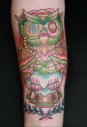 Cartoon Owl Tattoo