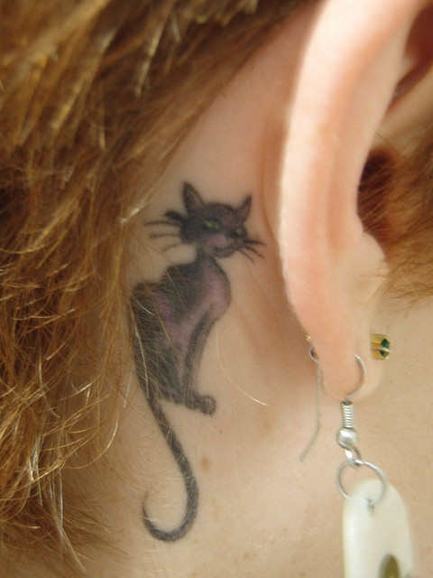 Cat Tattoo Design Behind Ear