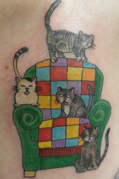 Cats On Chair Tattoo Design