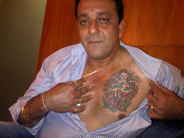 Celebrity Sanjay Dutt Showing Tattoo On Chest