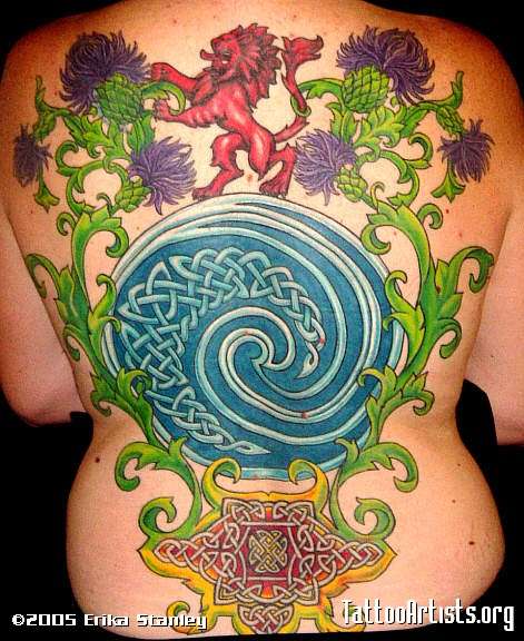 Celtic Spiral Circle Tattoo On Back