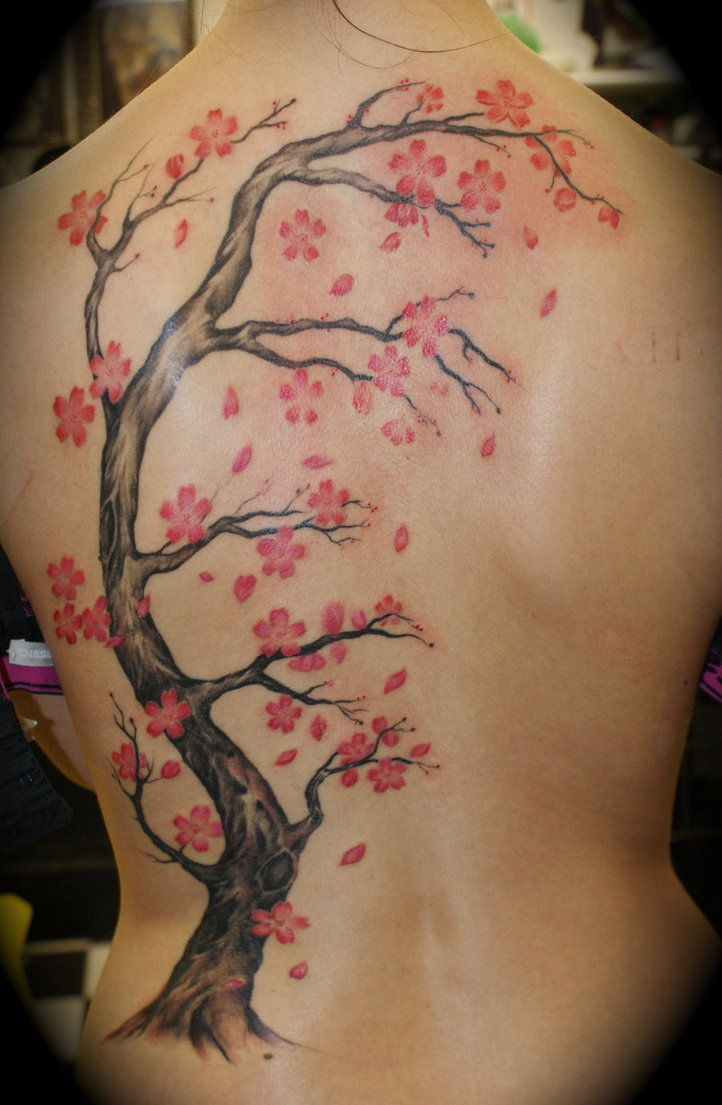 Cherry Blossom Tattoo Leg Cherry blossom backpiece