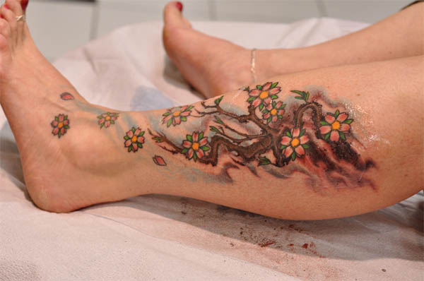 Cherry Blossom Branch Calf Tattoo