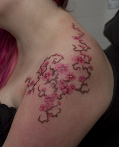 Cherry Blossom Tattoo On Shoulder For Female