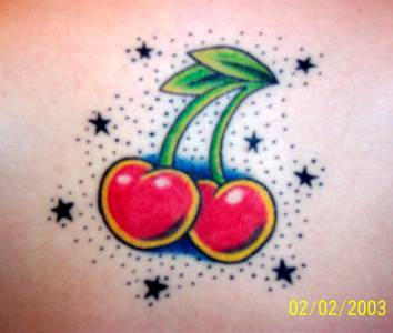 Cherry Tattoo Design With Tiny Stars
