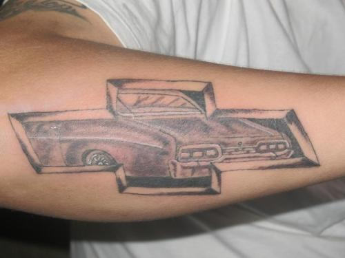Chevrolet Car Tattoo On Forearm
