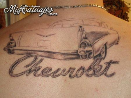Chevrolet Car Tattoo On Upper Back