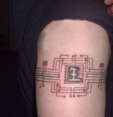 chip circuit tattoo on forearm tattoobite com chip circuit tattoo on biceps