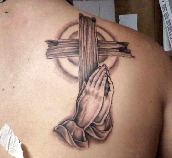 Christian Cross & Praying Hands Tattoo On  Shoulder Back