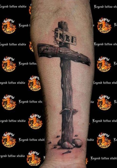 Christian Cross Tattoo On Arm