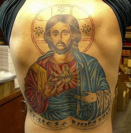 Christian Jesus Tattoo On Back