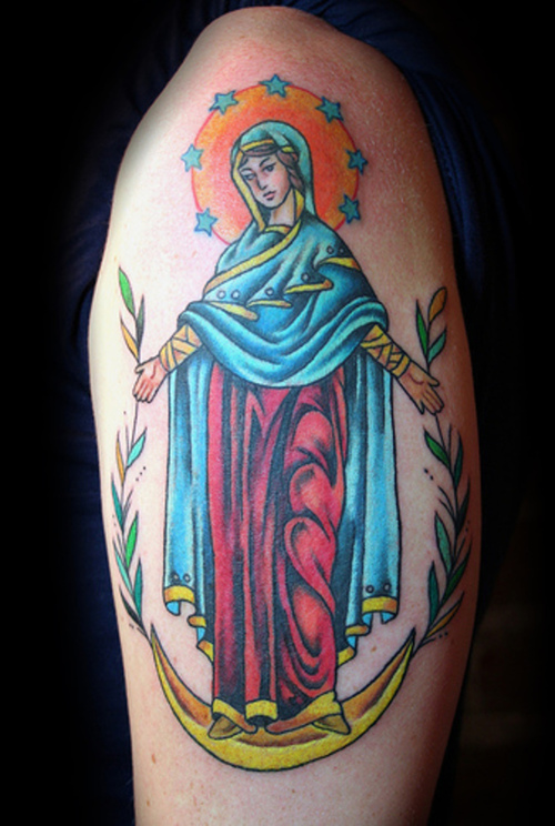Christian Virgin Mary Tattoo On Biceps