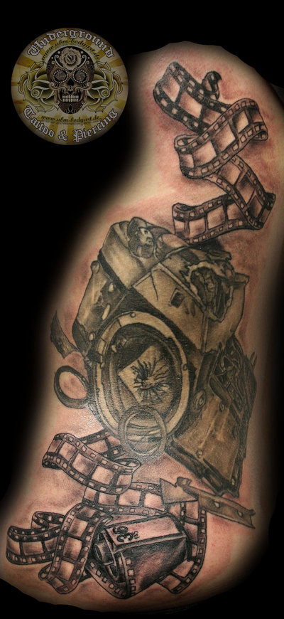 Cinema Camera & Reel Tattoo Design