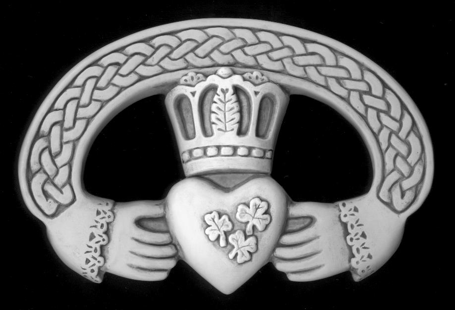 Claddagh Tattoo Design On Black Background