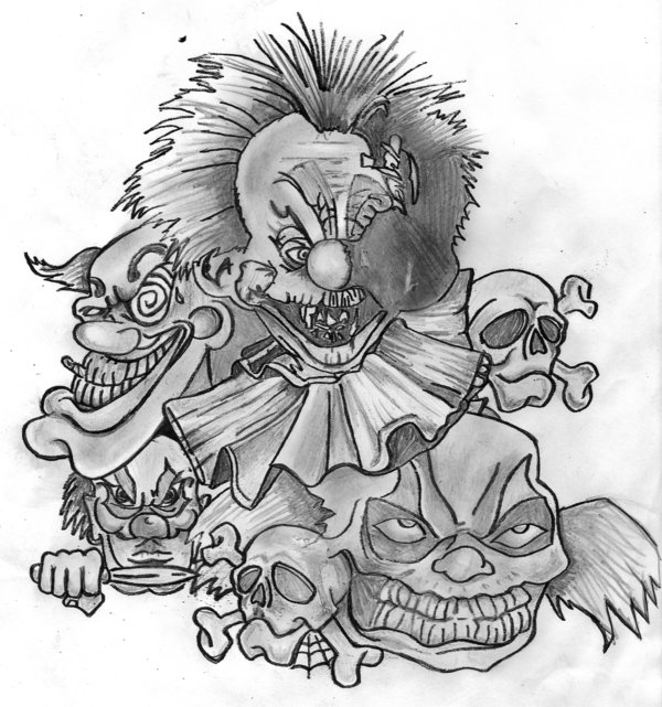Clown Tattoo Drawings