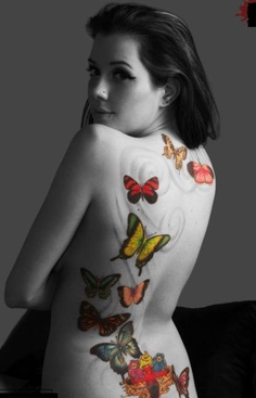 Colorful Butterflies Tattoo For Girls
