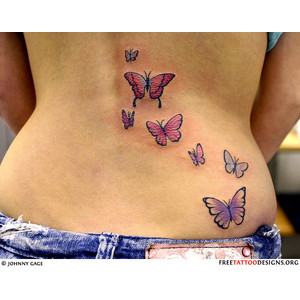 Colorful Butterflies Tattoo On Back