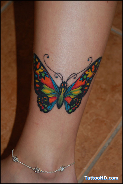 Colorful Butterfly Tattoo On Leg