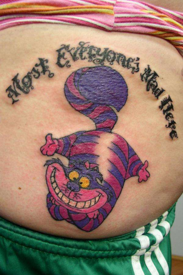 Colorful Cheshire Cat Tattoo