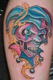 Colorful Clown Face Tattoo Design
