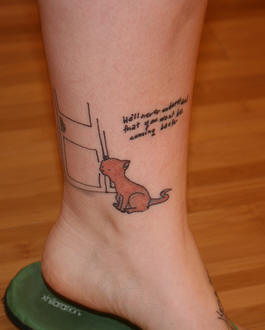 Cute Cat Tattoo Design On Ankle