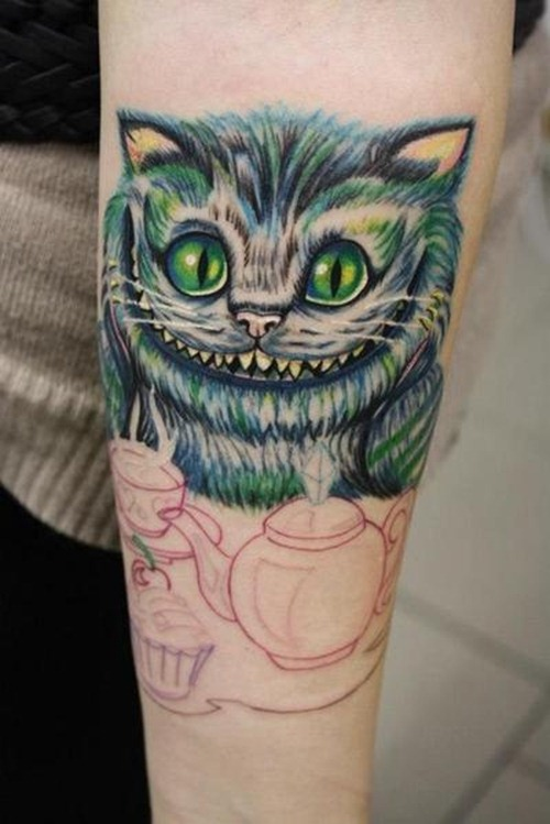 Cute Cheshire Cat Tattoo Design