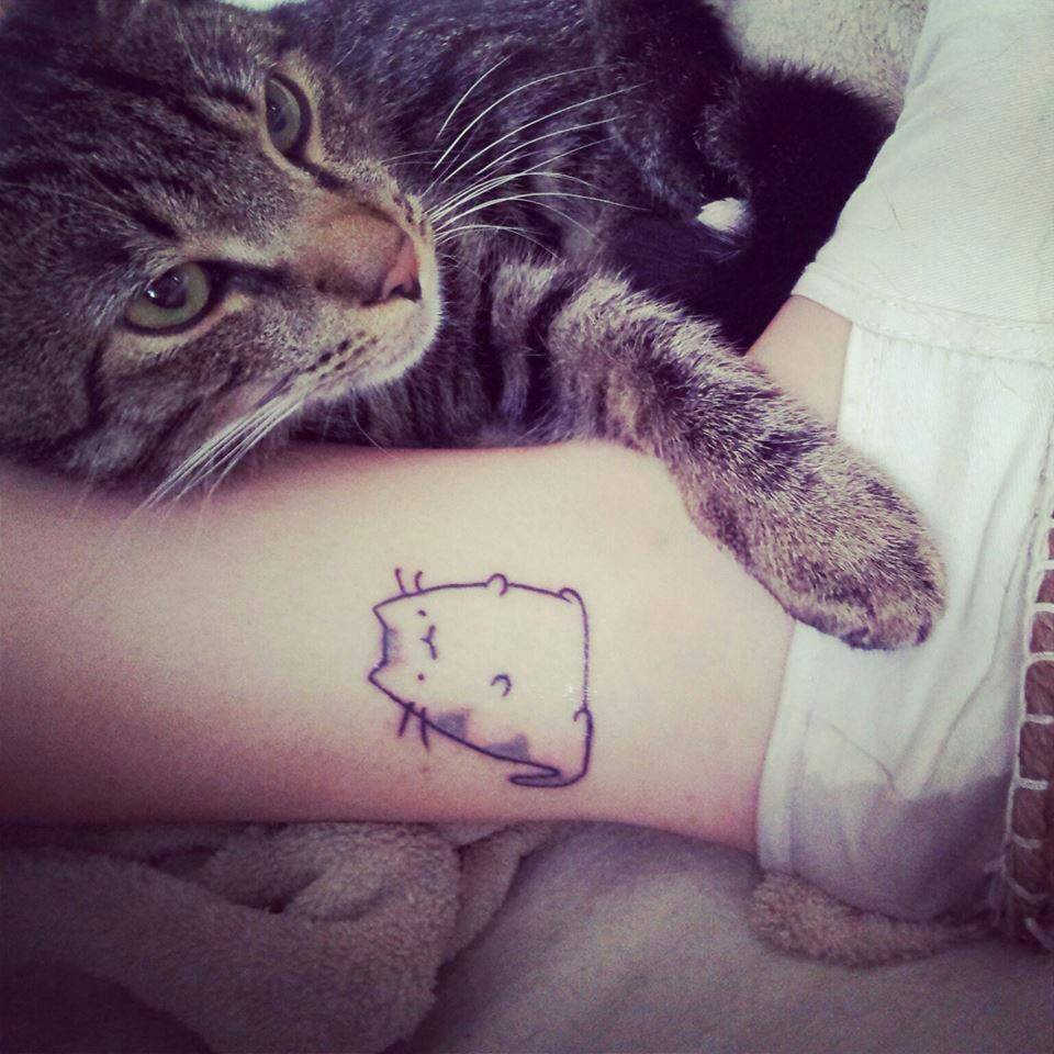 Cute Chubby Cat Tattoo On Ankle