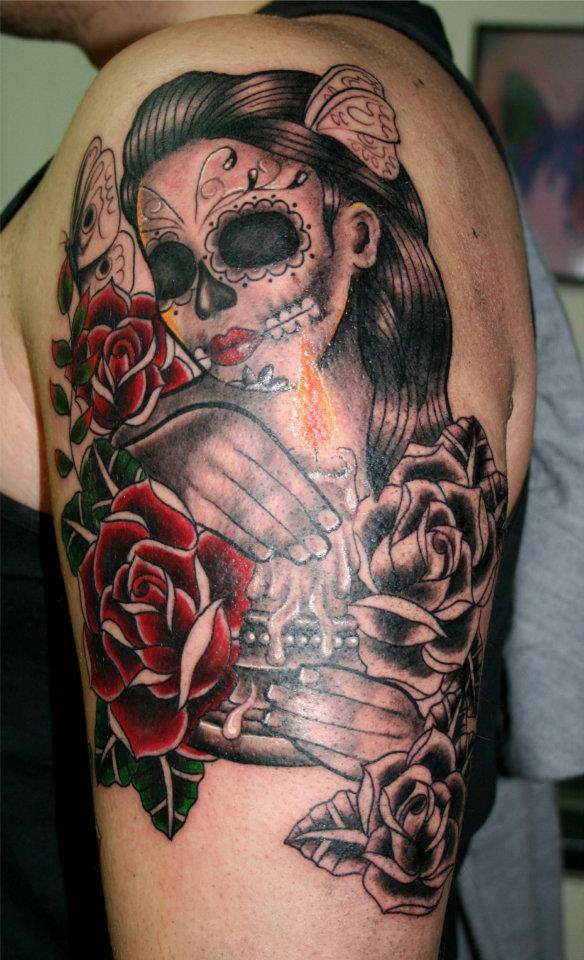 Dead Woman With Candle & Roses Tattoo Design