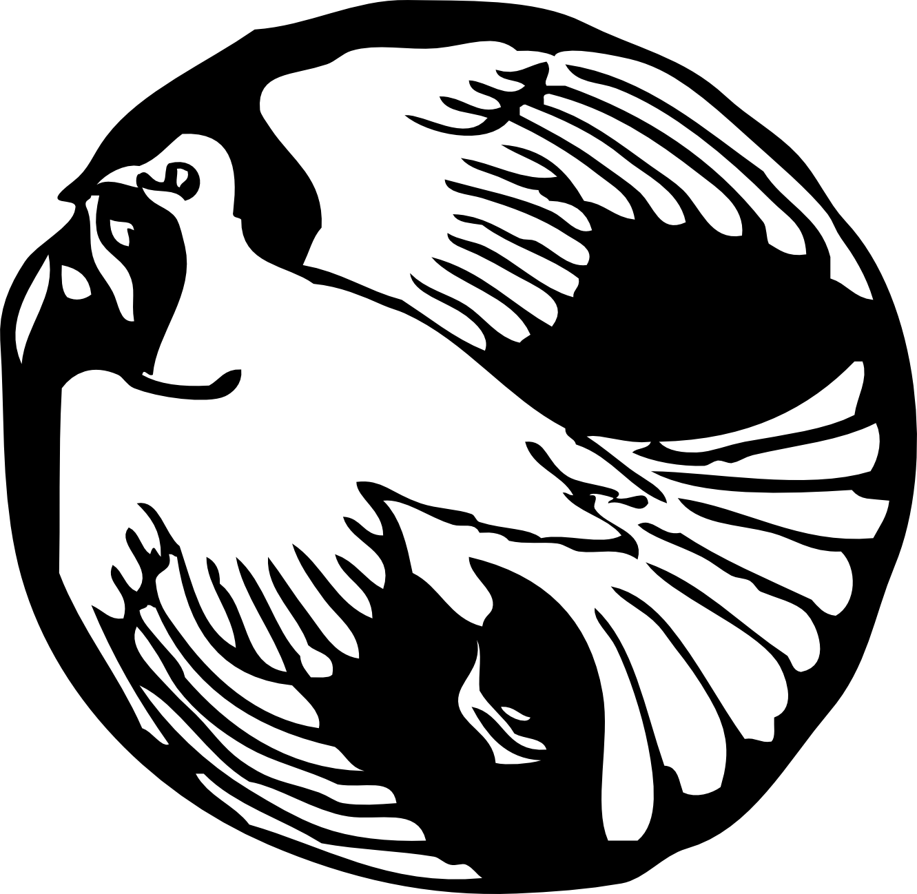 Dove In Black Circle Tattoo Design