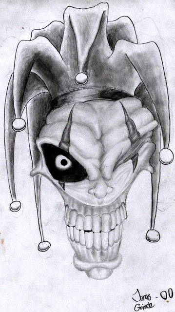 Evil Clown Skull Tattoo Drawing