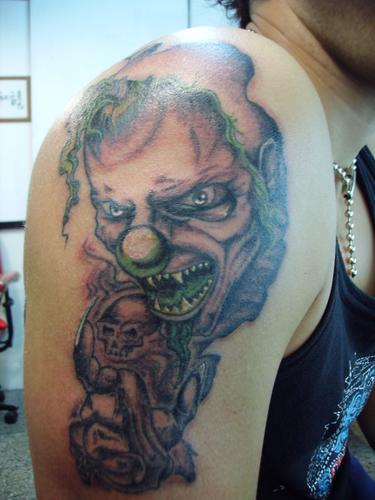 Evil Clown Tattoo For Your Shoulder