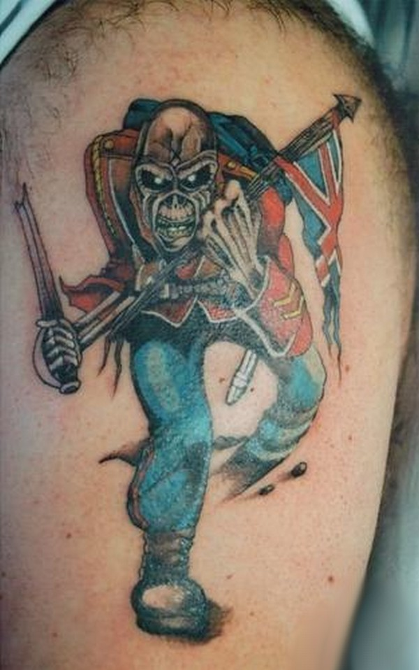 Evil Clown With Flag Tattoo On Shoulder