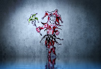 Fantasy Funny Clown Tattoo With Water Reflection Illustration Design