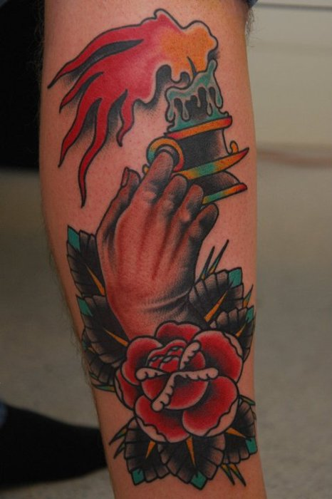 Flaming Candle In Hands With Rose Tattoo Design