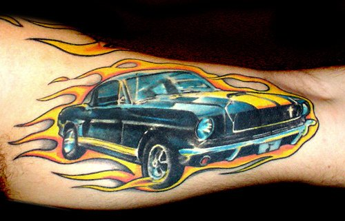Flaming Mustang Car Tattoo On Muscles