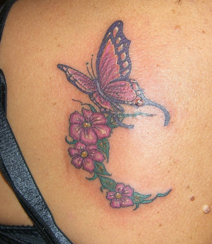 Flowers & Butterfly Tattoo Design