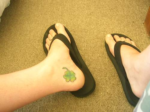Four Leaf Clover Tattoo On Foot
