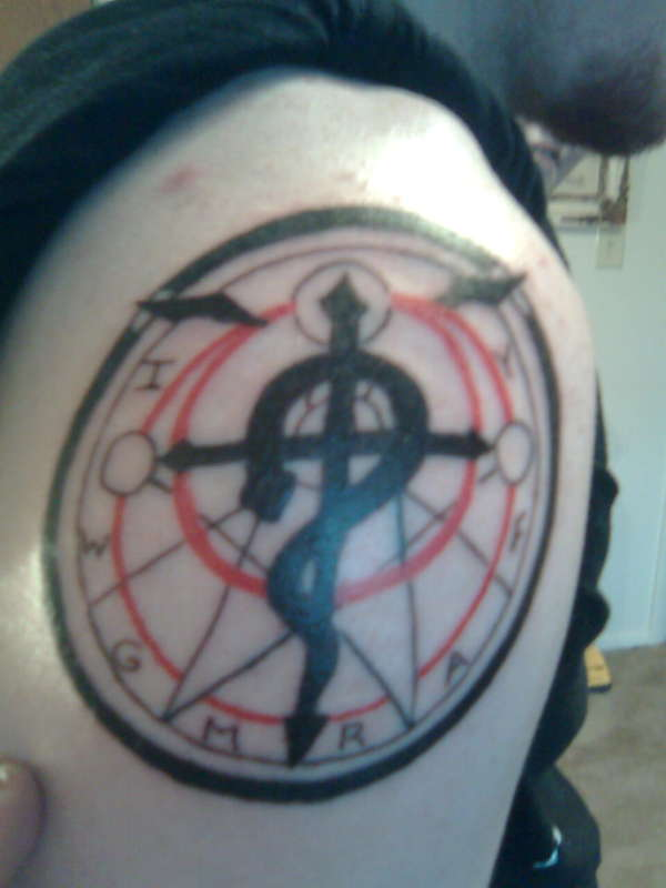 Full Metal Alchemist Circle Tattoo On Shoulder