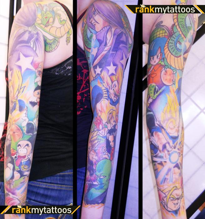 Full Sleeve Dragonball Z Cartoon Tattoo