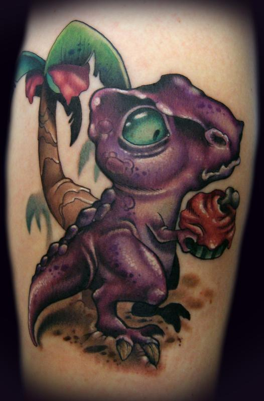 Funny Cartoon Dinosaur Tattoo Design