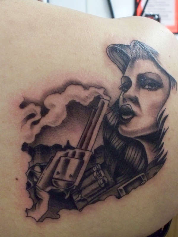 Gangsta Clown Girl Tattoo On Back Shoulder