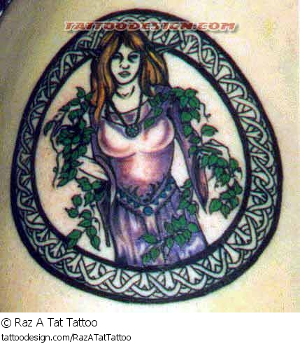 Girl In Celtic Circle Tattoo Design