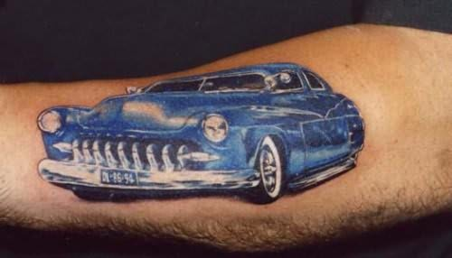 Glamorous Blue Car Tattoo
