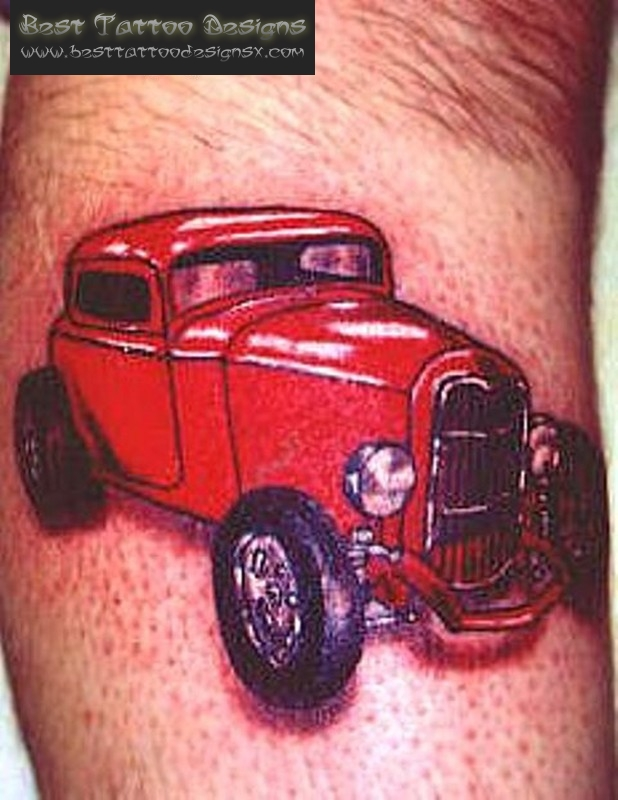 Glowing Red Car Tattoo