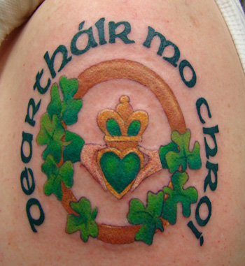 Green Heart Claddagh Tattoo With Clovers