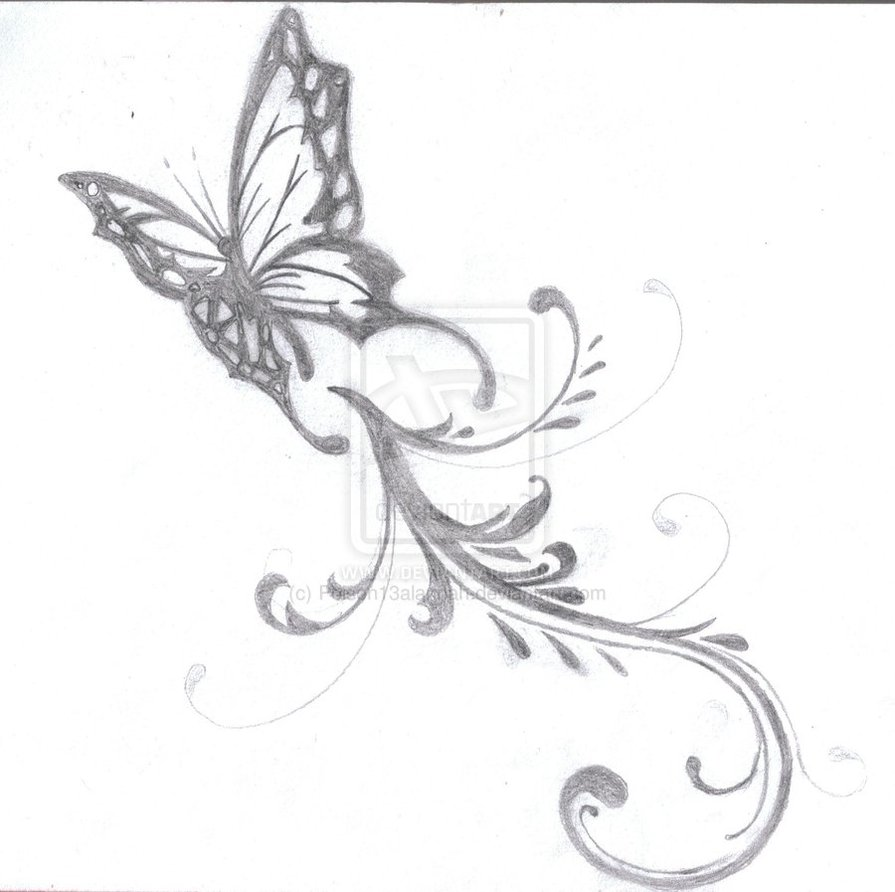 Grey Ink Butterfly Tattoo Sample