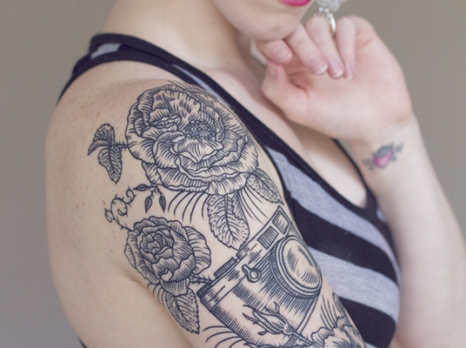 Grey Ink Flowers & Camera Tattoo For Girls