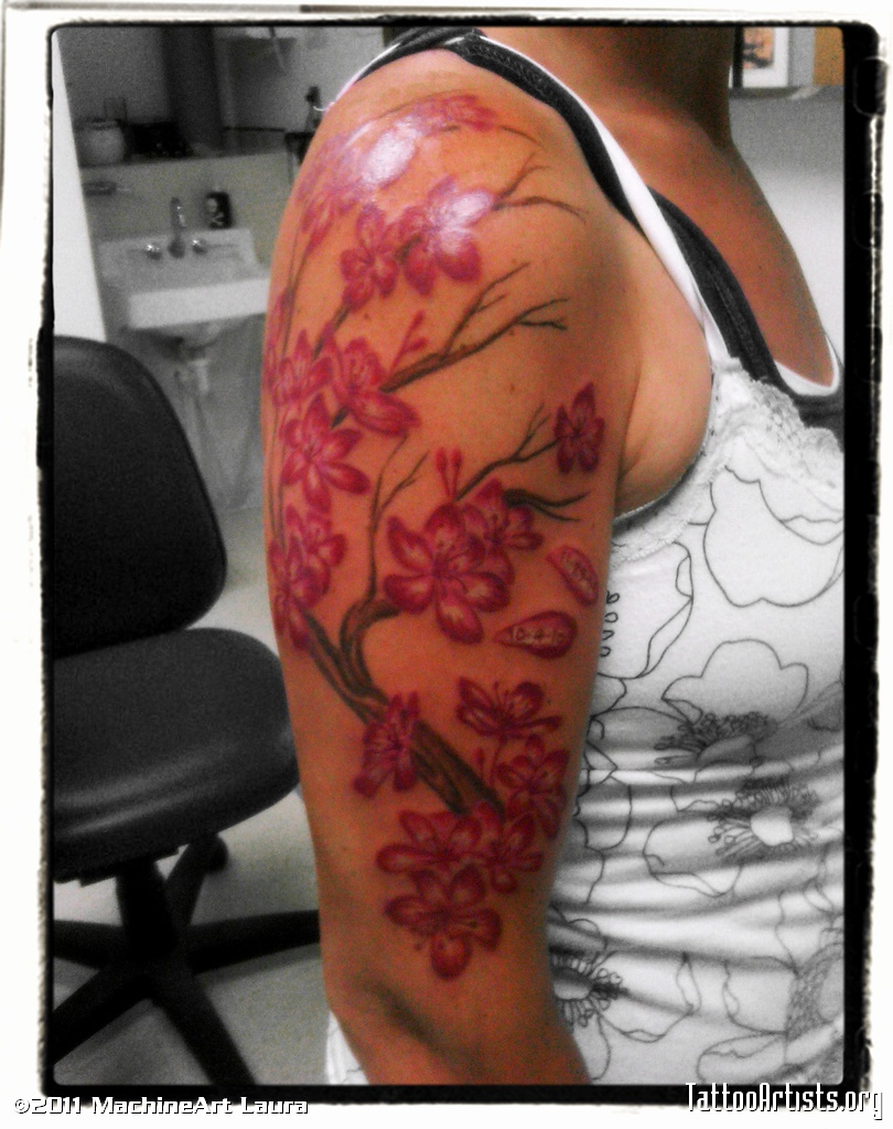 Half Sleeve Cherry Blossom Tattoo Picture