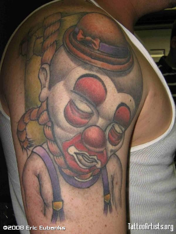 Hanging Clown Tattoo On Shoulder